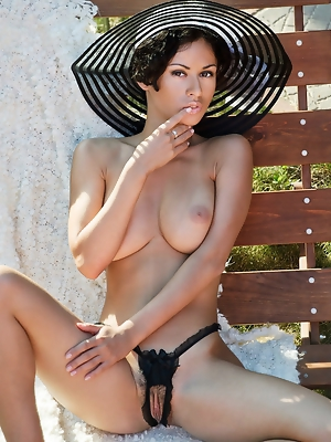 """""""With the bright sun shine, Pammie Lee sensually strips off her deep elegant black lingerie, hot sexy stockings and poses with so much ease outsi"""