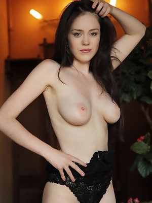 """""""Newcomer Annis strips her sexy black lingerie and dazzles us with her voluptuous body with super smooth and fair skin, puffy large breasts, and"""